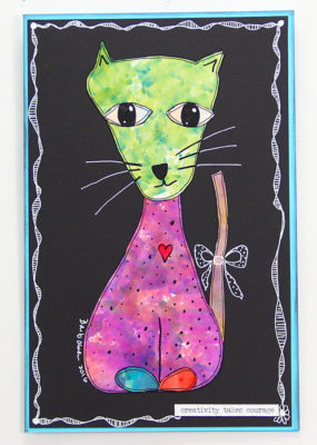 Gloss-Paper-Alcohol-Ink-Cat-Green-Head-Purple-Body-498x700px